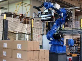 Robot de palettisation chez Posson Packaging.