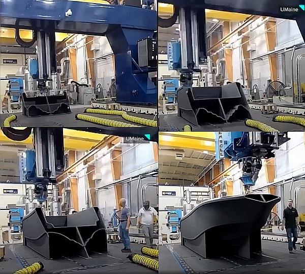 Processus de fabrication additive (impression 3D) d'un bateau de 25 pieds par UMaine.