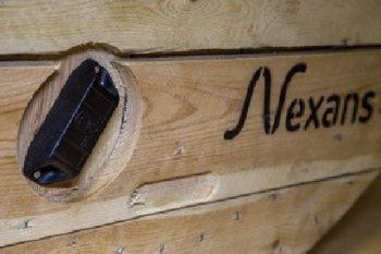 Touret de câble de Nexans équipé d'un boîtier instrumenté communicant sans fil de ffly4u.